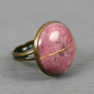 Rhodonite kintsugi ring in an antiqued brass adjustable setting
