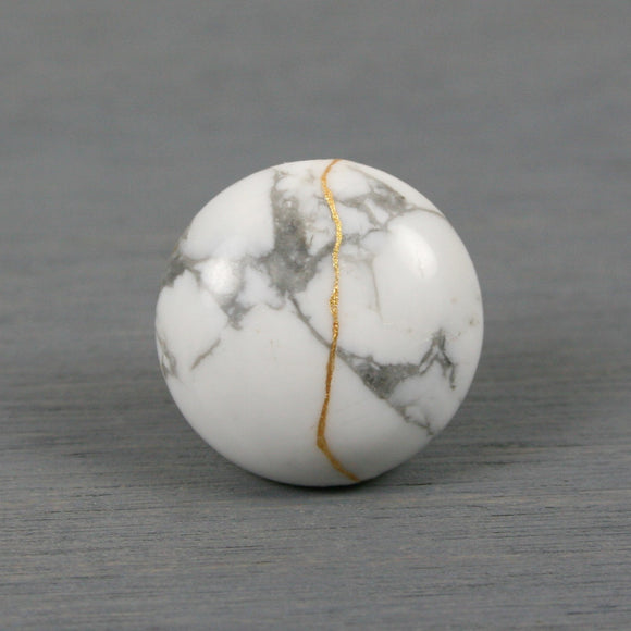 White howlite tie tack with kintsugi repair