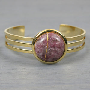 Lepidolite kintsugi bracelet with a gold cuff setting
