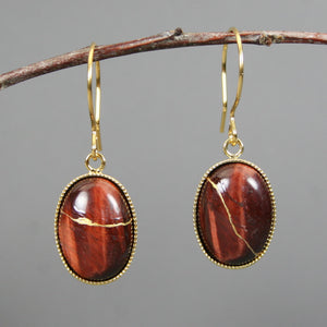 Red tiger eye kintsugi earrings with gold plated french ear wires