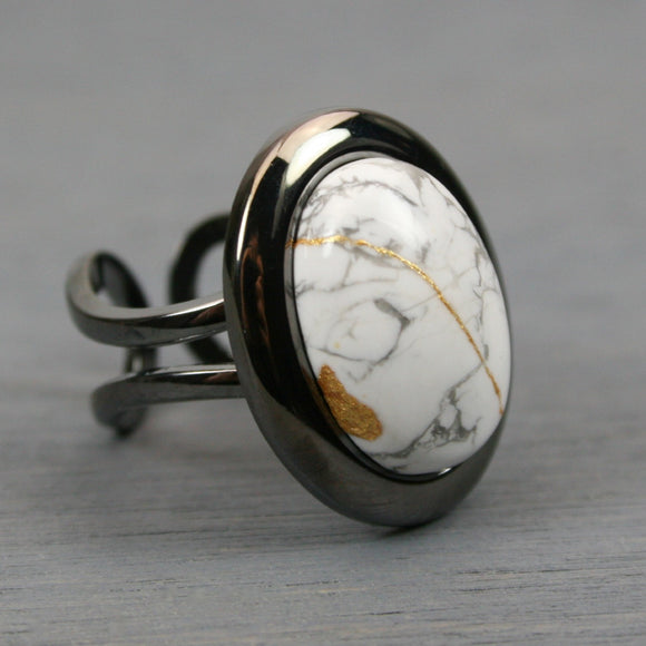 White howlite kintsugi ring in a gunmetal plated adjustable setting