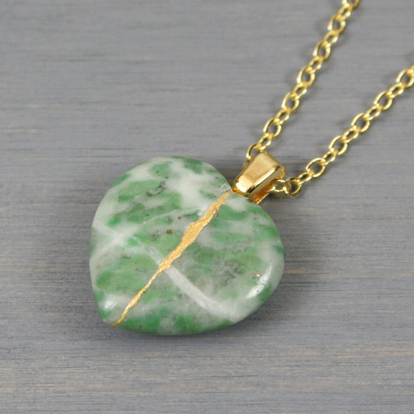 Tree agate broken heart pendant with kintsugi repair on chain necklace