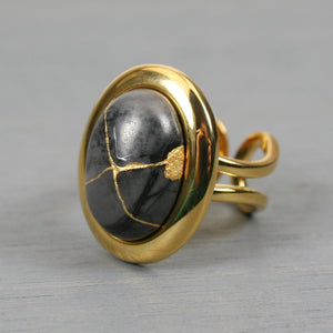 Picasso jasper kintsugi ring in a gold plated adjustable setting