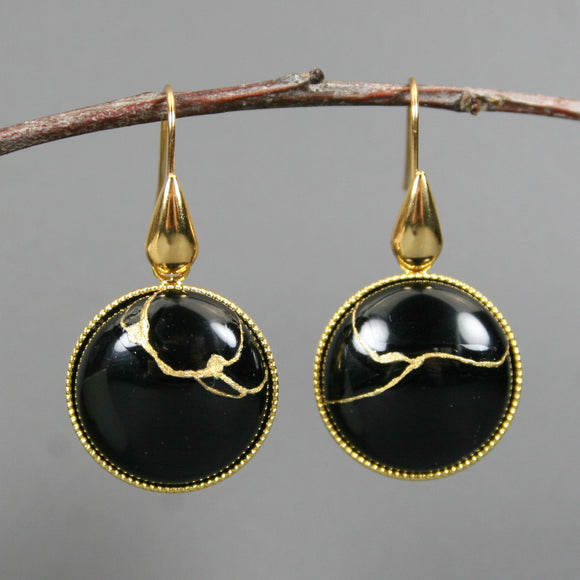 Black onyx kintsugi earrings on gold plated ear wires
