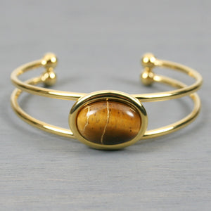 Tiger eye kintsugi bracelet with a gold cuff setting