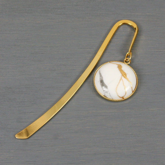 White howlite with kintsugi repair on gold plated steel bookmark