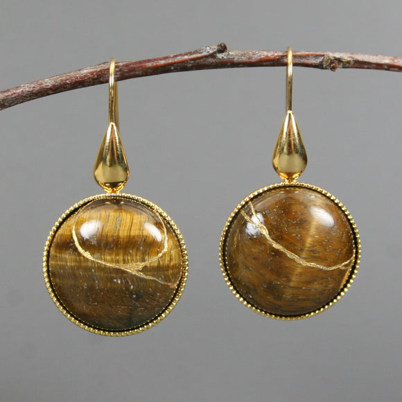 Tiger eye kintsugi earrings on gold plated ear wires