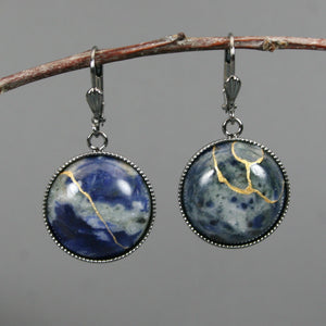 Sodalite kintsugi earrings on gunmetal plated leverback earwires