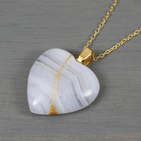 Blue lace agate broken heart pendant with kintsugi repair on chain necklace