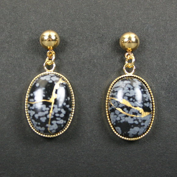 Snowflake obsidian kintsugi earrings on gold plated ball posts