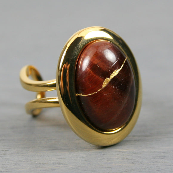 Red tiger eye kintsugi ring in a gold plated adjustable setting
