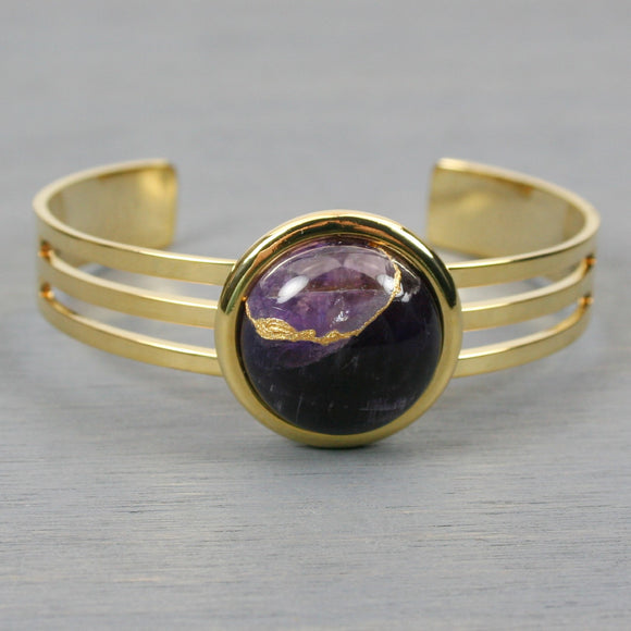 Amethyst kintsugi bracelet with a gold cuff setting