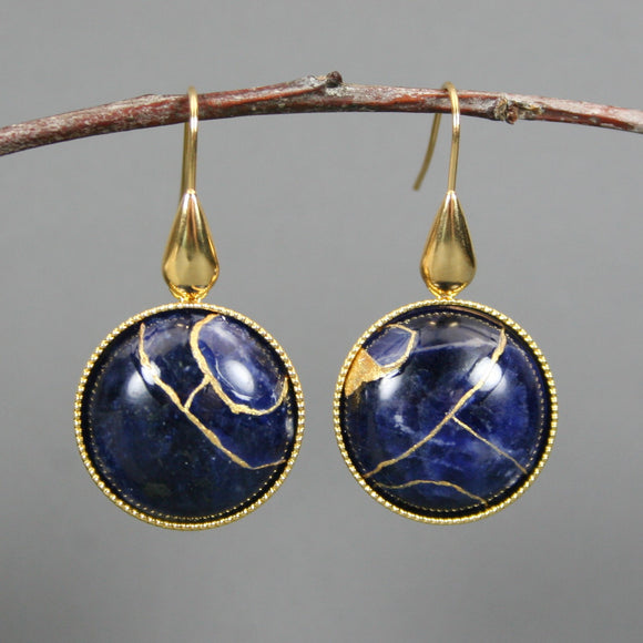 Sodalite kintsugi earrings on gold plated ear wires