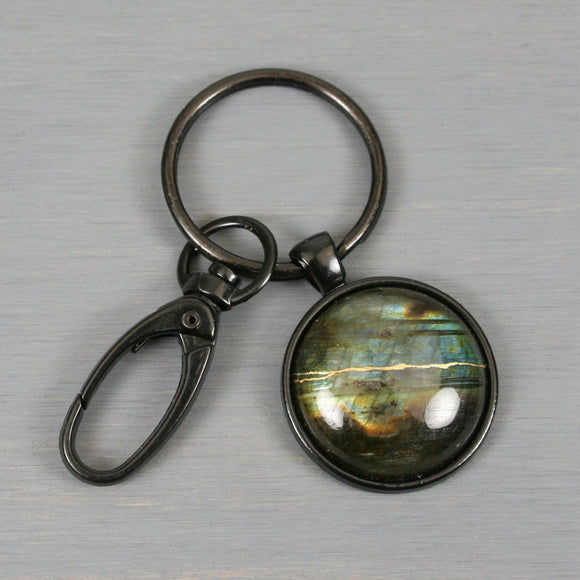 Labradorite kintsugi key chain with black swivel lobster claw