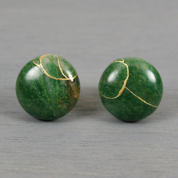 African jade cuff links with kintsugi repair on round stud backs