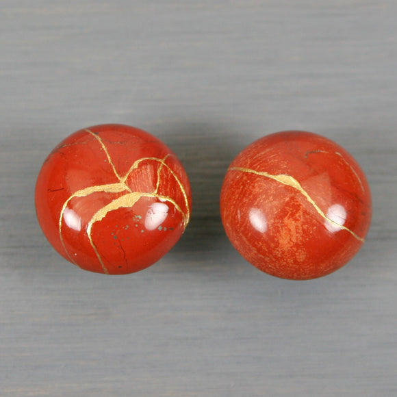 Red jasper cuff links with kintsugi repair on round stud backs