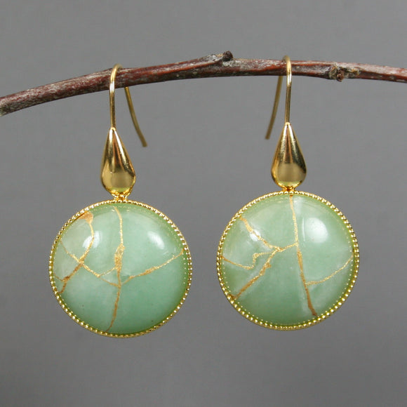 Green aventurine kintsugi earrings on gold plated ear wires
