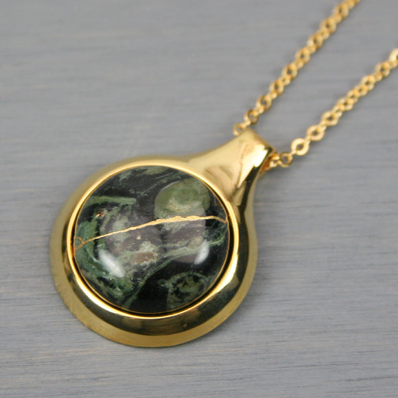 Kambaba jasper kintsugi pendant in a gold setting on chain