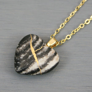 Picasso jasper broken heart pendant with kintsugi repair on chain necklace