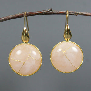 Rose quartz kintsugi earrings on gold plated ear wires