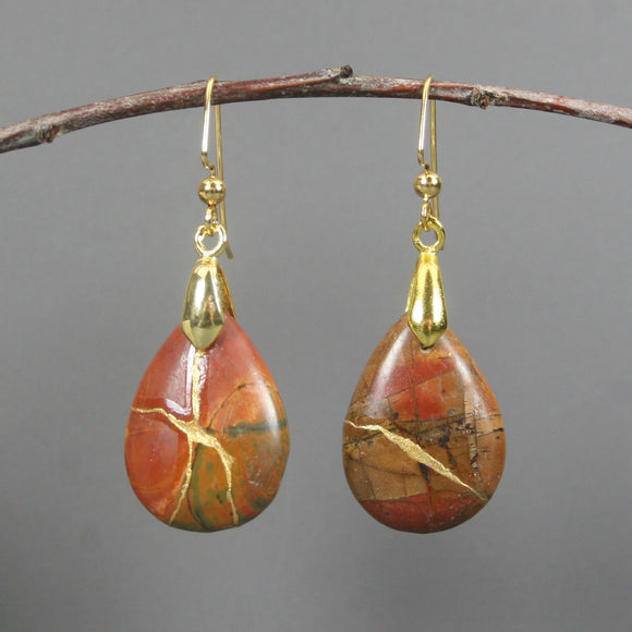 Red creek jasper kintsugi earrings on gold plated ear wires