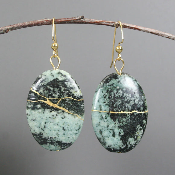 Green zebra jasper kintsugi earrings on gold plated ear wires