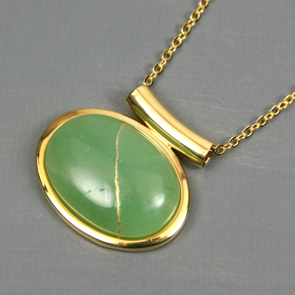 Green aventurine kintsugi pendant in a gold setting on chain from A Kintsugi Life