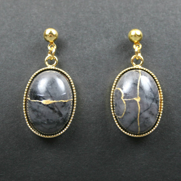 Picasso jasper kintsugi earrings with gold plated ball posts from A Kintsugi Life