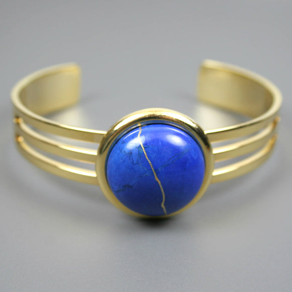 Lapis howlite kintsugi bracelet in a gold cuff setting from A Kintsugi Life