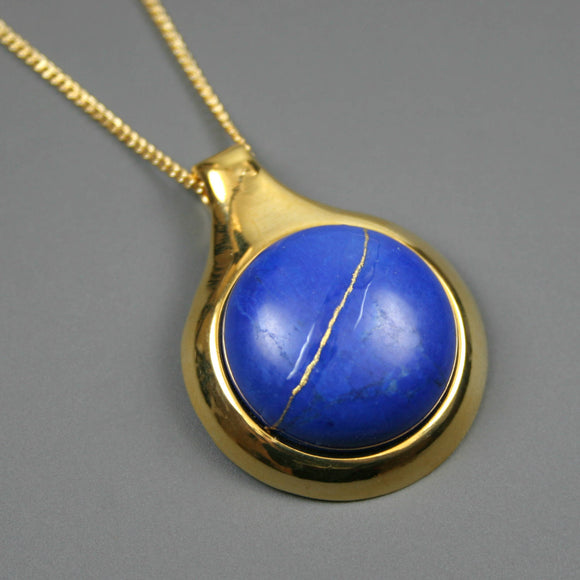 Lapis howlite kintsugi pendant in a gold setting on chain from A Kintsugi Life