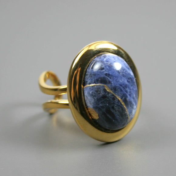 Sodalite kintsugi ring in a gold plated adjustable setting from A Kintsugi Life