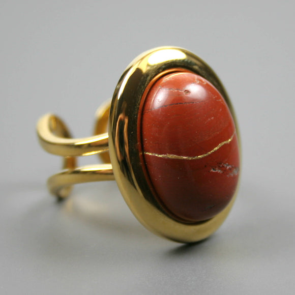 Red jasper kintsugi ring in a gold plated adjustable setting from A Kintsugi Life