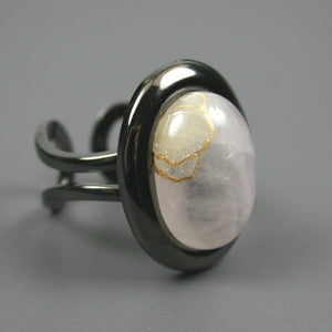 Rose quartz kintsugi ring in a gunmetal plated adjustable setting from A Kintsugi Life