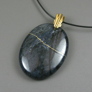 Flower dumortierite pendant with kintsugi repair on black cotton cord from A Kintsugi Life