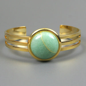 Green aventurine kintsugi bracelet with a gold cuff setting from A Kintsugi Life