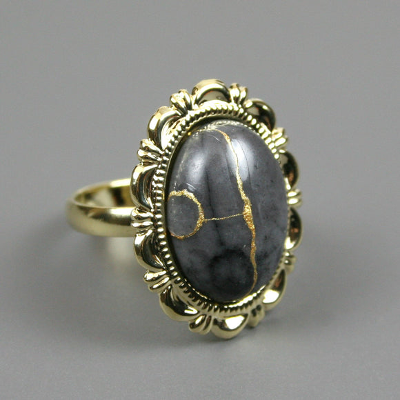 Picasso jasper kintsugi ring in a gold plated adjustable setting from A Kintsugi Life