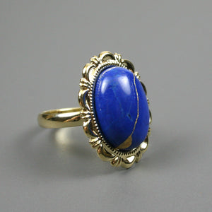 Lapis howlite kintsugi ring in a gold plated adjustable setting from A Kintsugi Life