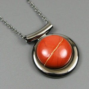 Red jasper kintsugi pendant in a gunmetal setting on chain from A Kintsugi Life