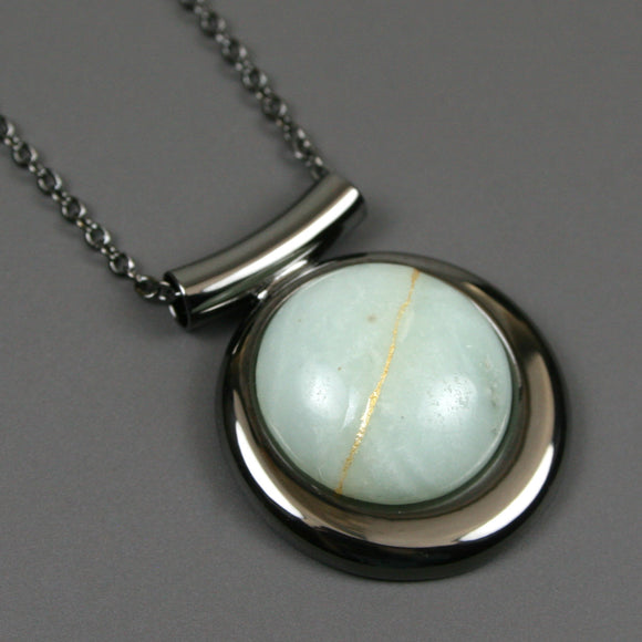 Amazonite kintsugi pendant in a gunmetal setting on chain from A Kintsugi Life