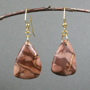 Bronze zebra stone kintsugi earrings on gold plated ear wires from A Kintsugi Life