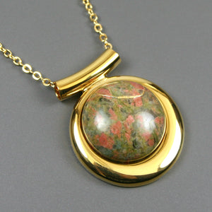 Unakite kintsugi pendant in a gold setting on chain from A Kintsugi Life
