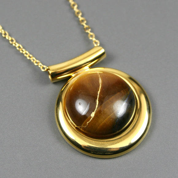 Tiger eye kintsugi pendant in a gold setting on chain from A Kintsugi Life
