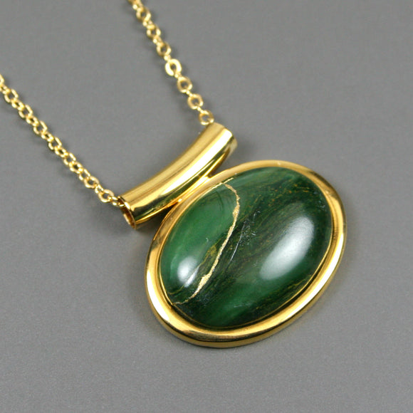 African jade kintsugi pendant in a gold setting on chain from A Kintsugi Life