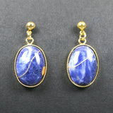 Sodalite kintsugi earrings with gold plated ball posts from A Kintsugi Life