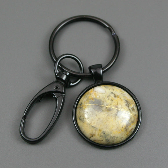 Yellow crazy lace agate kintsugi key chain with black swivel lobster claw from A Kintsugi Life