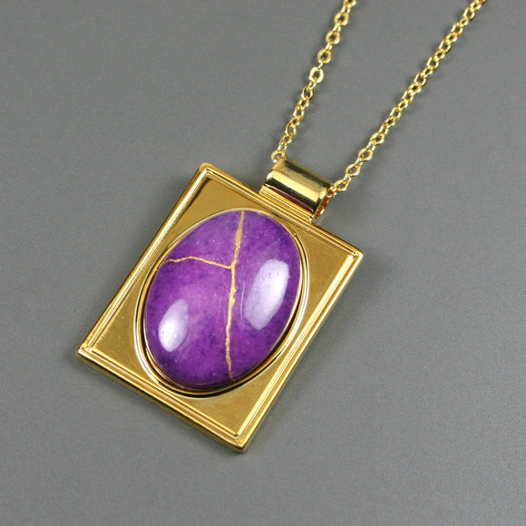 Purple dolomite kintsugi pendant in a gold setting on chain from A Kintsugi Life