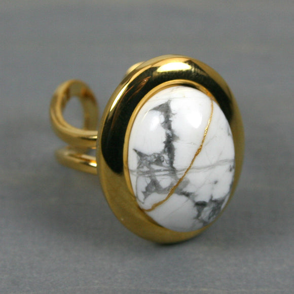 White howlite kintsugi ring in a gold plated adjustable setting from A Kintsugi Life