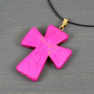 Pink howlite kintsugi pendant on black cotton cord necklace from A Kintsugi Life