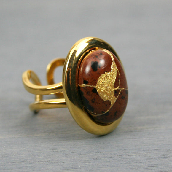 Mahogany obsidian kintsugi ring in a gold plated adjustable setting from A Kintsugi Life