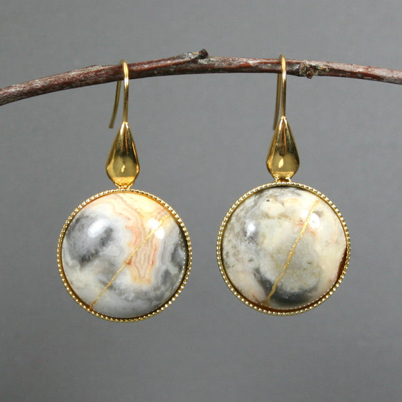 Yellow crazy lace agate kintsugi earrings on gold plated ear wires from A Kintsugi Life